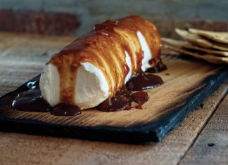 Cedar Planked Goat Cheese with Apricot Preserves