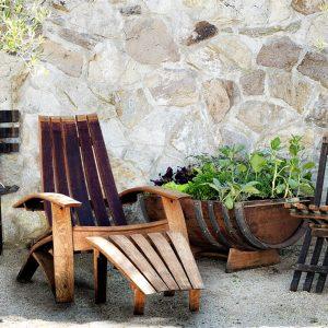 wine barrel adirondack seating
