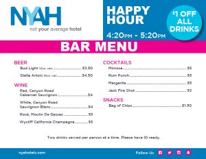 NYAH New Bar Menu
