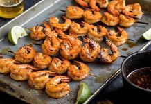 Mexican Chipotle Shrimp Skewers with Lime Beer Basting Sauce