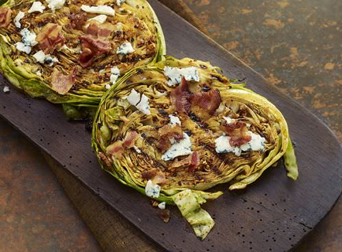 Cabbage Steaks with Bacon Blue Cheese