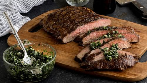 Beer Marinated Flank Steak with Blue Cheese Chimichurri