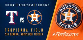 Tropicana Field to Host Texas Rangers vs. Houston Astros Series