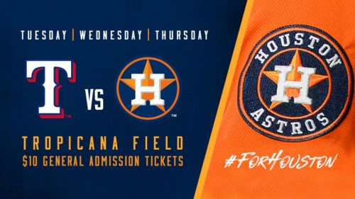 Houston ASTROS baseball GAME MOVED TO TAMPA BAY