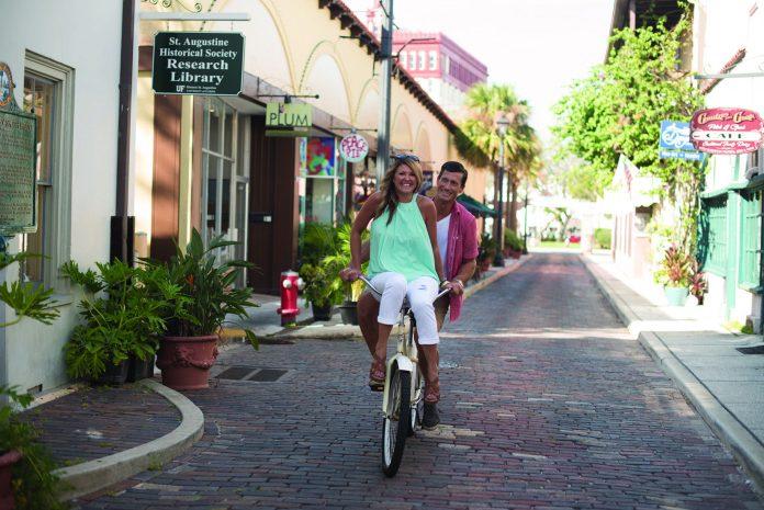 Couple Biking on Aviles Street